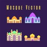 De reeks of de inzameling van Islamitische moskee isoleerde vlak ontwerp met moskee van de pastelkleur de kleurrijke, vectorillus royalty-vrije illustratie