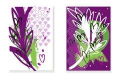 De reeks kaarten met abstracte achtergrond, wit en nam takken en harten toe Royalty-vrije Stock Foto's