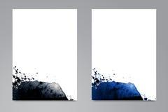 De reeks kaarten met waterverf overhandigt getrokken vlekken vector illustratie