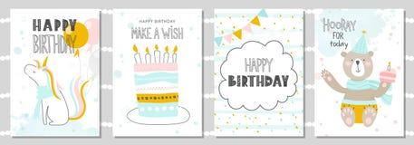 De reeks de kaarten van de Verjaardagsgroet en malplaatjes van de partijuitnodiging met leuke eenhoorn, draagt en koekt Vector il stock illustratie