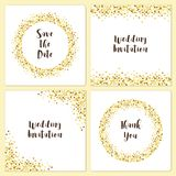 De reeks de kaartmalplaatjes van het luxehuwelijk met gouden schittert confettien Stock Afbeelding