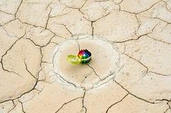 De reeks kleurpotloden in a desolated land Stock Afbeeldingen