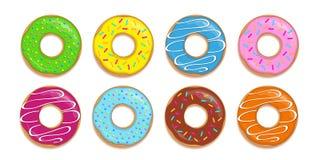 De reeks kleurrijke donuts met verschillende suiker bestrooit royalty-vrije illustratie
