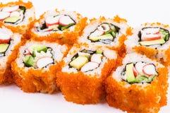 De reeks-krab van sushi vlees, avocado en rode kaviaar Royalty-vrije Stock Afbeeldingen