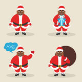 De reeks leuke Afrikaanse Kerstmanclausules in verschillend stelt Modern vlak ontwerp Vector stock illustratie