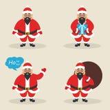 De reeks leuke Aziatische Kerstmanclausules in verschillend stelt Modern vlak ontwerp Vector vector illustratie