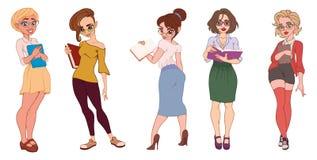 De reeks leuke beeldverhaalillustraties van een mooie bedrijfsvrouw of een secretaresse, vrouwelijke student in divers stelt stock illustratie