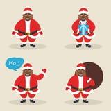 De reeks leuke clausules van de karakterkerstman in verschillend stelt Kerstman met de zak, met gift, die zijn hand golven Modern stock illustratie