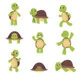 De reeks leuke groene schildpadden met bruine shell in divers stelt geïsoleerd op witte achtergrond vector illustratie