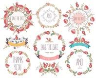 De reeks leuke retro bloemen schikte de V Huwelijks vastgestelde bloemen, kronen, linten vector illustratie