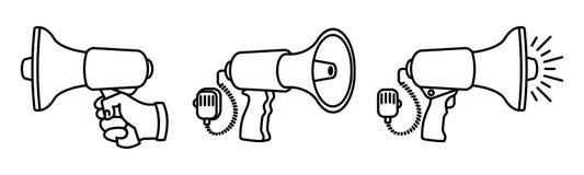 De reeks lineaire luidsprekers 3 verschillende megafoons op zwarte achtergrond maakte met liefde en ijver vector illustratie