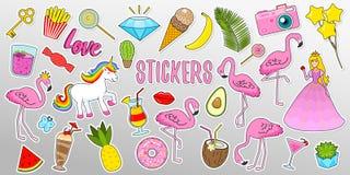 De reeks meisjes vormt leuke flarden, pretstickers, kentekens, spelden en stickers Inzamelings verschillende elementen Prinses en vector illustratie