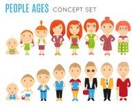 De reeks mensen veroudert vlakke pictogrammen royalty-vrije illustratie