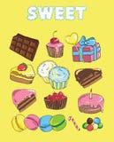 De reeks met bakt en snoepjes Achtergrond met kleurrijk divers suikergoed Stock Foto's