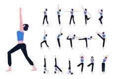 De reeks met mooie Aziatische vrouw stelt binnen van yoga Royalty-vrije Stock Foto's