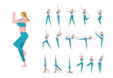 De reeks met mooie Kaukasische vrouw stelt binnen van yoga Stock Afbeelding