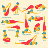 De reeks met mooie vrouw die diverse verschillende yoga uitoefenen stelt Royalty-vrije Stock Afbeelding