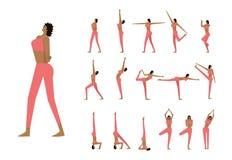 De reeks met mooie vrouw stelt binnen van yoga Stock Fotografie