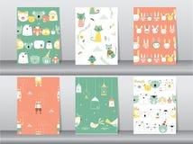 De reeks naadloze patronen met grappige beeldverhaaldieren, draagt, kat, vogel, Vectorillustraties royalty-vrije illustratie