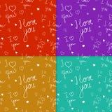 De reeks naadloze patronen met handwriten tekst Royalty-vrije Stock Fotografie