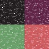 De reeks Naadloze patronen met I houdt van u tekst in diverse talen stock illustratie
