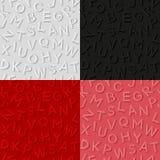 De reeks naadloze patronen met maakt alfabet in reliëf Stock Foto
