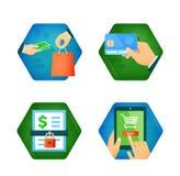 De reeks pictogrammen over online het winkelen, loon koopt kaart Stock Afbeeldingen