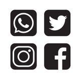 De reeks populaire sociale media emblemen, pictogrammen facebook instagram tjirpt youtube whatsapp vector illustratie