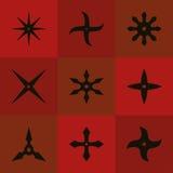 De reeks shuriken van ninja Zwart pictogram royalty-vrije illustratie
