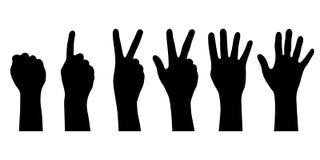 De reeks silhouetteert menselijke handen royalty-vrije stock afbeelding