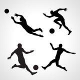 De reeks silhouetten van dynamisch stelt voetbalsters Stock Fotografie