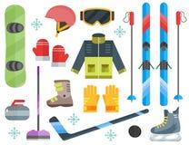 De reeks-ski van het wintersportenmateriaal, het krullen, vleten, kleren Stock Afbeelding
