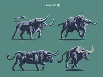 De reeks stieren en buffels in verschillend stelt stock illustratie