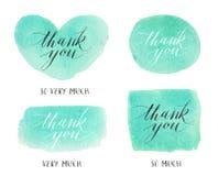 De reeks Texturen van de Waterverfvlek met dankt u handtekening stock foto's