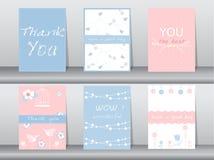 De reeks uitnodigingskaarten, dankt u kaarten, affiche, malplaatje, groetkaarten, dieren, vogels, bloemen, Vectorillustraties Stock Fotografie