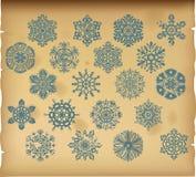 De reeks uitstekende sneeuwvlokken op uitstekende achtergrond Royalty-vrije Stock Fotografie