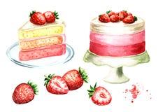 De reeks van de aardbeicake Waterverfhand getrokken die illustratie, op witte achtergrond wordt geïsoleerd Royalty-vrije Stock Foto's