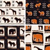 De reeks van Afrika-Themed naadloze patronen Stock Fotografie
