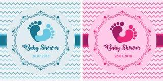 De reeks van de babydouche Het leuke ontwerp van uitnodigingskaarten voor de partij van de babydouche Malplaatjeontwerp voor meis stock afbeeldingen