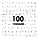 De reeks van beeldverhaalpictogrammen van 100 schetst het kleine cijfer van de mensenstok Stock Fotografie