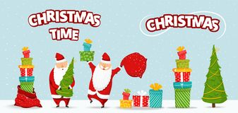 De reeks van beeldverhaalsanta claus Het grappige gelukkige Kerstmankarakter met Kerstmisboom, stapel van giften, zak met stelt v royalty-vrije illustratie