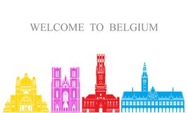 De reeks van België De geïsoleerde architectuur van België op witte achtergrond Stock Afbeeldingen