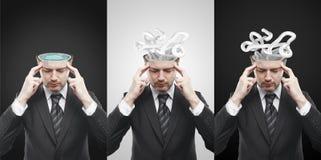 De reeks van bemant met het verwarren van verwarring van gedachten. Stock Foto