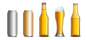 De reeks van bierspot omhoog, glas, fles, aluminium kan Royalty-vrije Stock Afbeeldingen