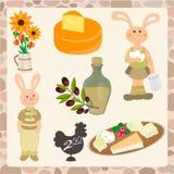 De reeks van biologische producten, konijn met eieren en a kan van melk, ver royalty-vrije illustratie