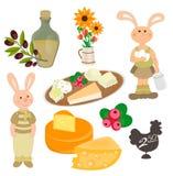 De reeks van biologische producten, konijn met eieren en a kan van melk, ver vector illustratie