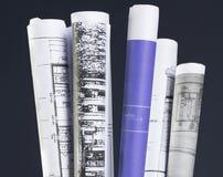 De reeks van blauwdrukken Stock Afbeelding