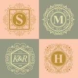 De reeks van bloeit kalligrafisch monogram vector illustratie