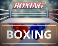 De reeks van de boksringsbanner, beeldverhaalstijl vector illustratie