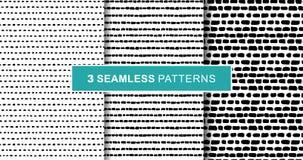 De reeks van boom abstracte hand trekt naadloze patronen, zwarte strepen vector illustratie